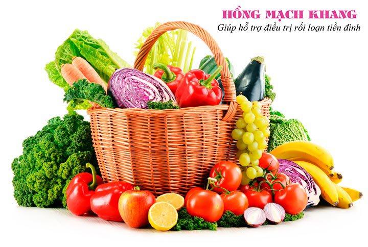 Ăn nhiều các loại rau củ quả tươi giàu vitamin nhóm B giúp cải thiện bệnh rối loạn tiền đình